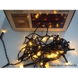 LED VERLICHTING (BINNEN & BUITEN) 180L CLASSIC WHITE 10CM AFSTAND LAMPJES 10M  AANLOOPSNOER IP44 24V/3VA TRAFO GROEN SNOER